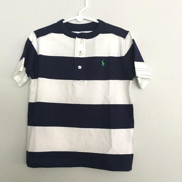 65cad355 Ralph Lauren Navy Blue White Stripe Shirt Boy Sz 5 NWT